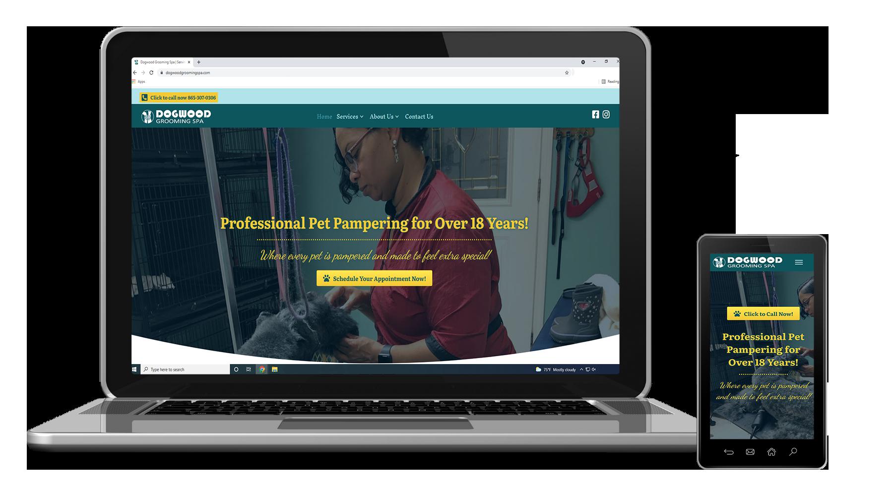 Design for Dogwood Grooming Spa's Website
